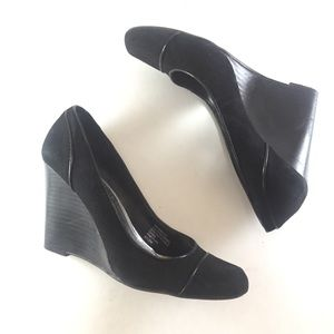 White House Black Market Black Suede Wedges